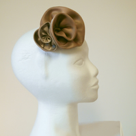 Silk rosette hair slide