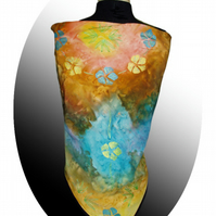 Hand painted silk floral scarf overpainted with yellow, blue and orange