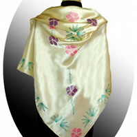Hand painted plain floral silk scarf, pink and purple on cream
