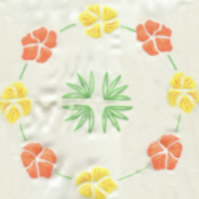 Hand painted plain floral silk scarf in white, yellow and orange