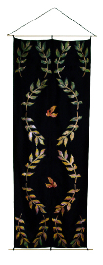 Hand painted silk wall hanging, autumn leaves, black home decor, leaf wall art