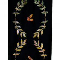 Hand painted silk wall hanging with autumnal leaves