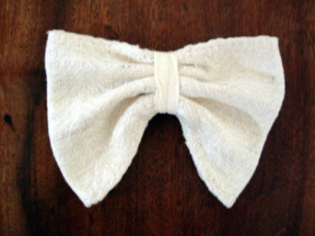 ivory Eri wild silk handmade wedding hair bow