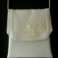 Handmade ivory silk satin and organza embroidered panel wedding pochette bag