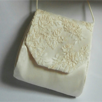 Handmade ivory silk and lace pochette wedding bag purse