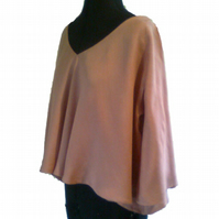 Damask pink cashmere and silk tunic – flexible size