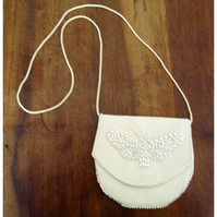 Ivory silk bag with hand beaded butterfly