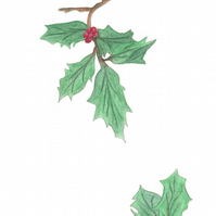 Holly with Berries limited edition botanical Christmas giclee print