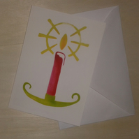 Candle Light card, candle card, Christmas card, red candle, green candle holder