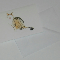 Striped tabby and white cat handmade card
