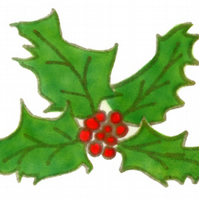 Holly Christmas card, holly & red berries, traditional Christmas card, greenery