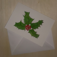 Holly Christmas card, holly & red berries, traditional Christmas greenery card