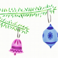 Blue pink bauble decorations handmade Christmas card