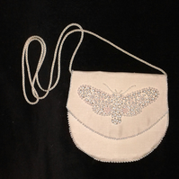 Ivory silk bag, bride bag, bridesmaid bag, butterfly, hand beaded bag, pochette