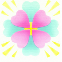 Heart Mandala card, pink heart, blue heart, meditation card, yellow cross, gift