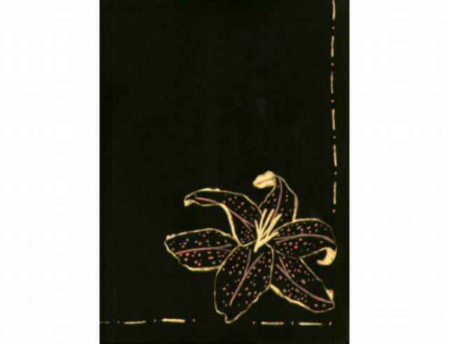 Black silk scarf, long black scarf, lily scarf, handpainted scarf, gold lily