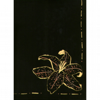 Long black silk handpainted scarf with gold lily