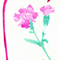 Carnation card, pinks, pink flower card, flower note cards, botanical art cards