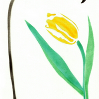 Tulip card, spring, Easter card, yellow flower, flower note cards, botanical art