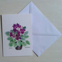 Potted Violets handmade flower note cards