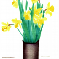 Daffodils card, flower note cards, Easter card, still life, spring flower,