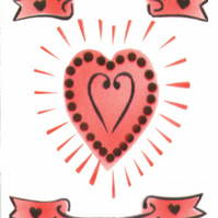 Love heart card, red heart, scrolls, romance, engagement card, wedding card