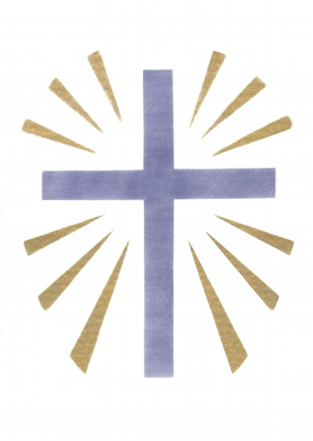 Easter Cross card, blue cross with gold rays print, meditation card, stencil art