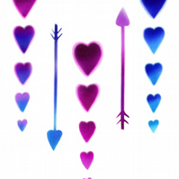 Arrows & hearts card, cupid card, magenta, heart, purple hearts, stencil card