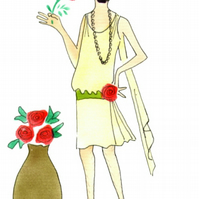 The 20s, twenties dress, vase of red roses, note cards, flapper girl, floral