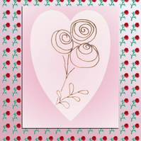 Rose Heart card, red roses, black roses, cream heart, pink card, love heart card