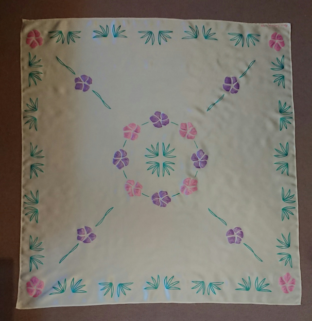 Handpainted square pink and florals on cream silk satin scarf