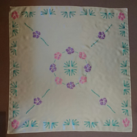 Handpainted square cream silk scarf with pink and purple florals