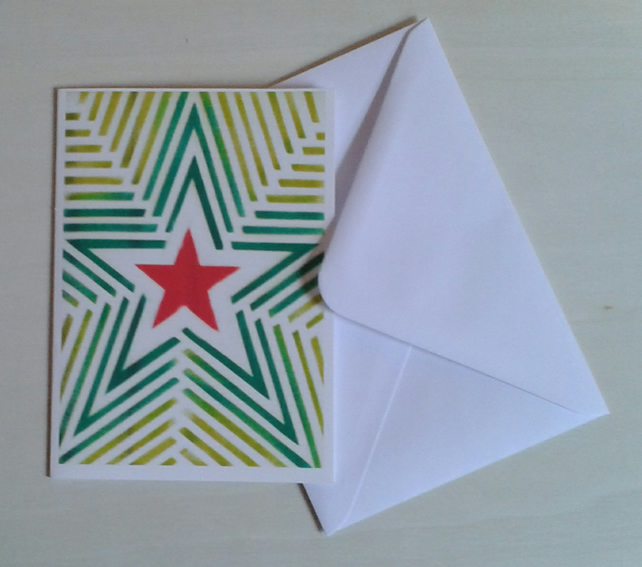 Red green stars and stripes Starburst handmade Christmas card