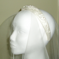 Ivory silk embellished wedding Alice band handmade to order