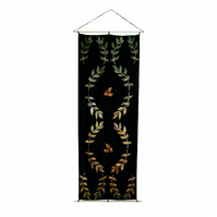 Fallng Autumn leaves black home decor hand painted silk wall hanging