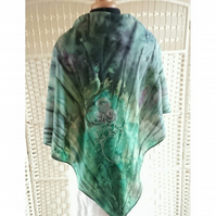 Hand painted green square silk scarf with silver roses and leaves