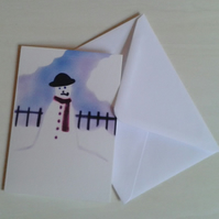 Snowman cute handmade Christmas card
