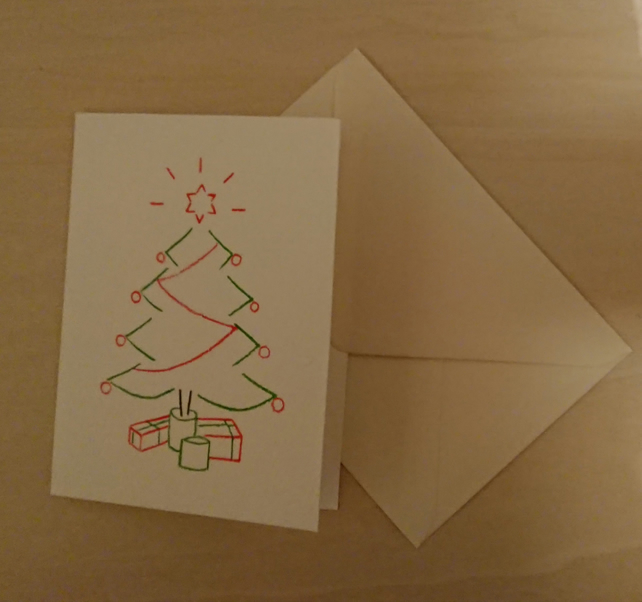 Christmas Tree handmade card hand drawn from handcut stencils