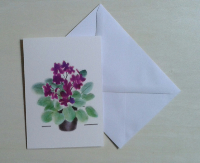 Potted Violets handmade flower note cards, violets are blue