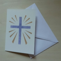 Blue cross with gold rays stencil art print meditation card