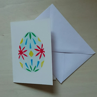 Painted egg handmade stencilled Easter card