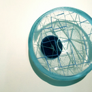 Glass Bowl in Fishing Net Design with Blue enamelled rim