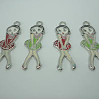 4 x Betty Boop Pendant Charms Red or Green F33 - 34
