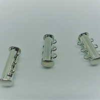 3 x Bright Silver 3 Strand Magnetic Slider Lock Clasps - F6