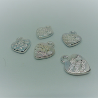 10 x Silver Tone Made With Love Heart Charms - F18