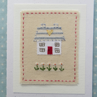 Daisy Cottage hand-stitched card