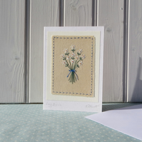Lazy Daisies hand-stitched card