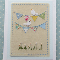 Bunting with Birds hand-stitched card