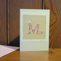 Letter 'M' Alphabet Card hand-stitched