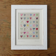 Lots of love, framed hand-stitched miniature applique hearts, lovely gift idea